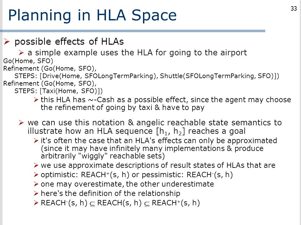 Planning in HLA Space possible effects of HLAs