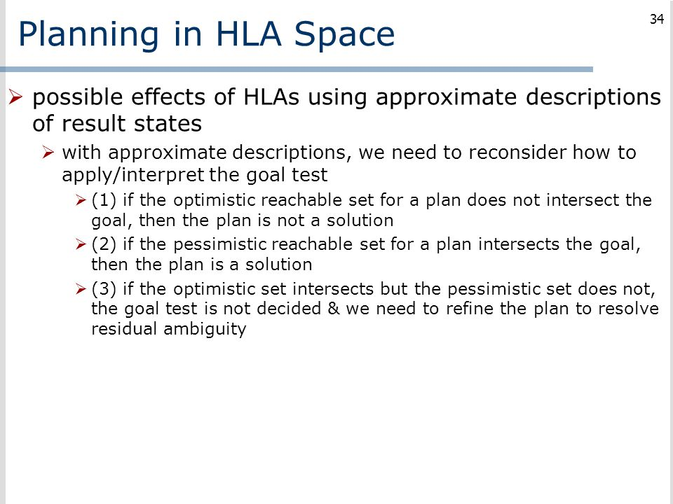 Planning in HLA Space possible effects of HLAs using approximate descriptions of result states.