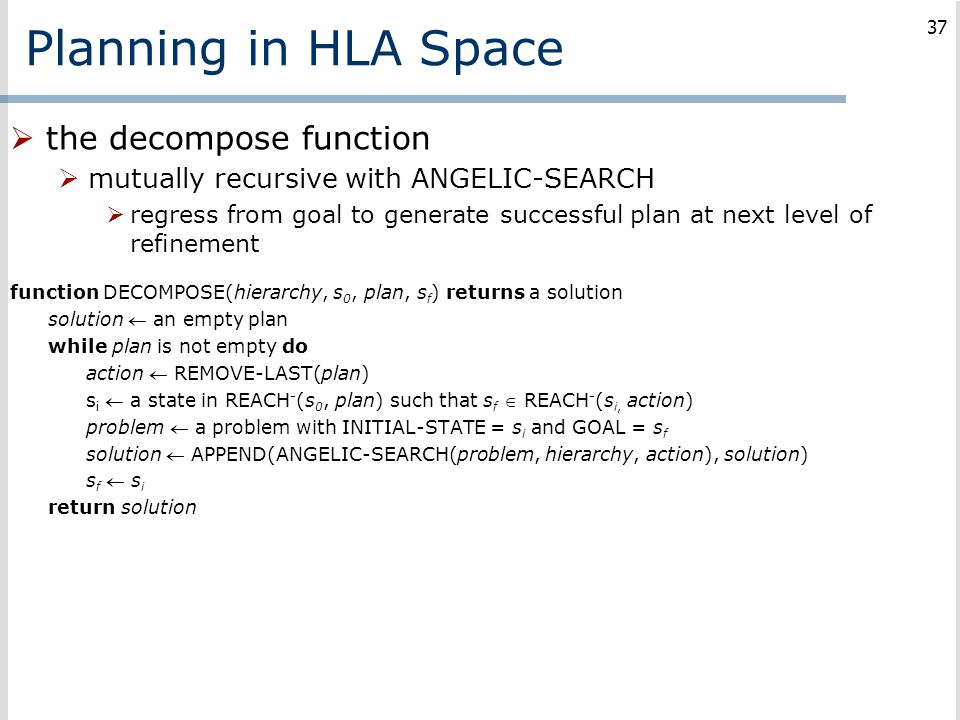 Planning in HLA Space the decompose function