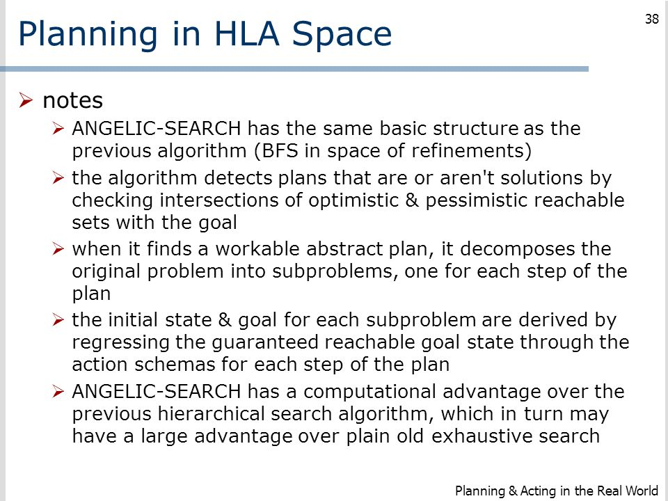Planning in HLA Space notes