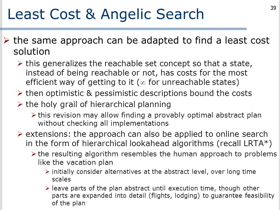 Least Cost & Angelic Search
