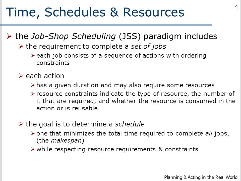 Time, Schedules & Resources
