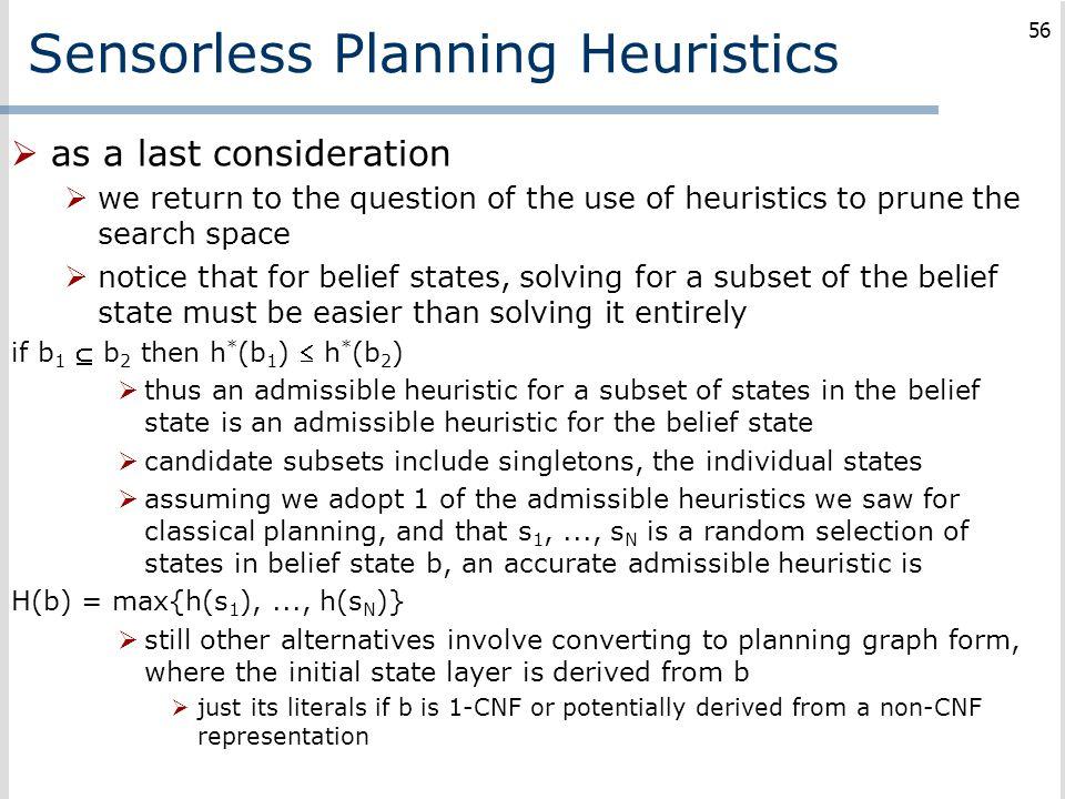 Sensorless Planning Heuristics