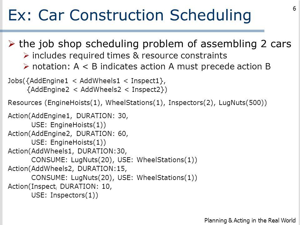 Ex: Car Construction Scheduling