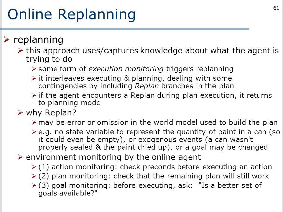Online Replanning replanning
