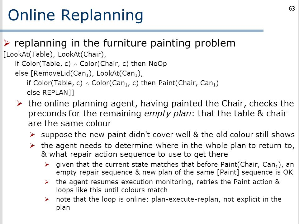 Online Replanning replanning in the furniture painting problem