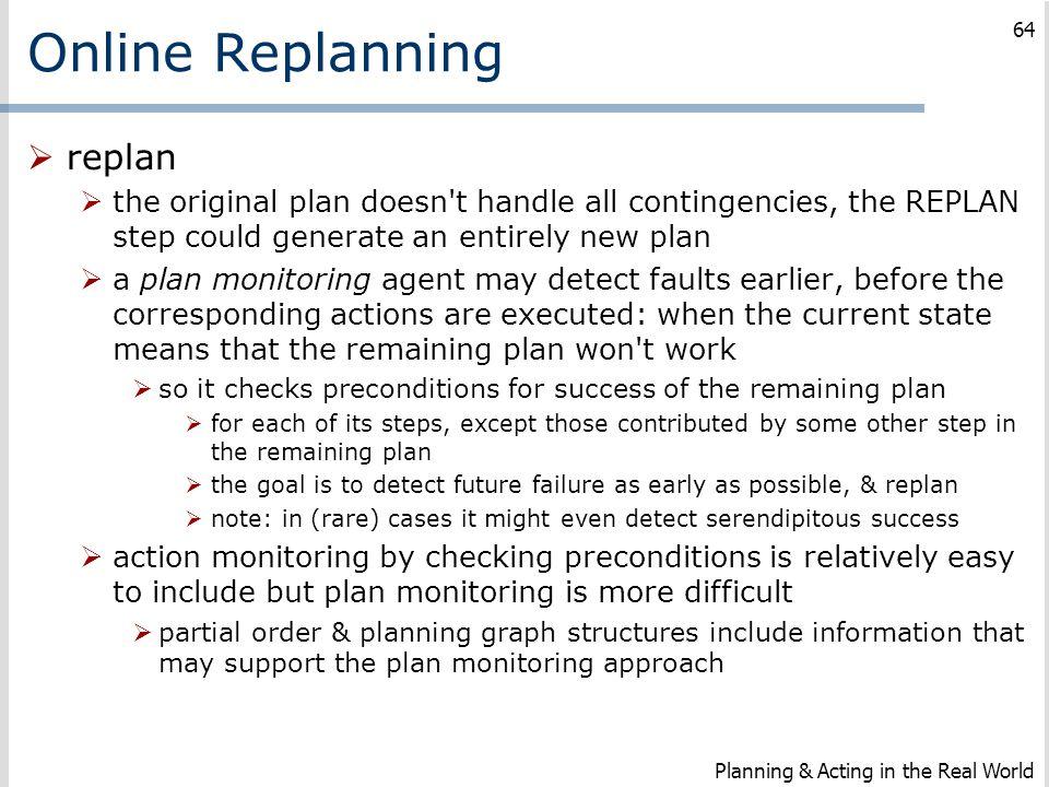 Online Replanning replan