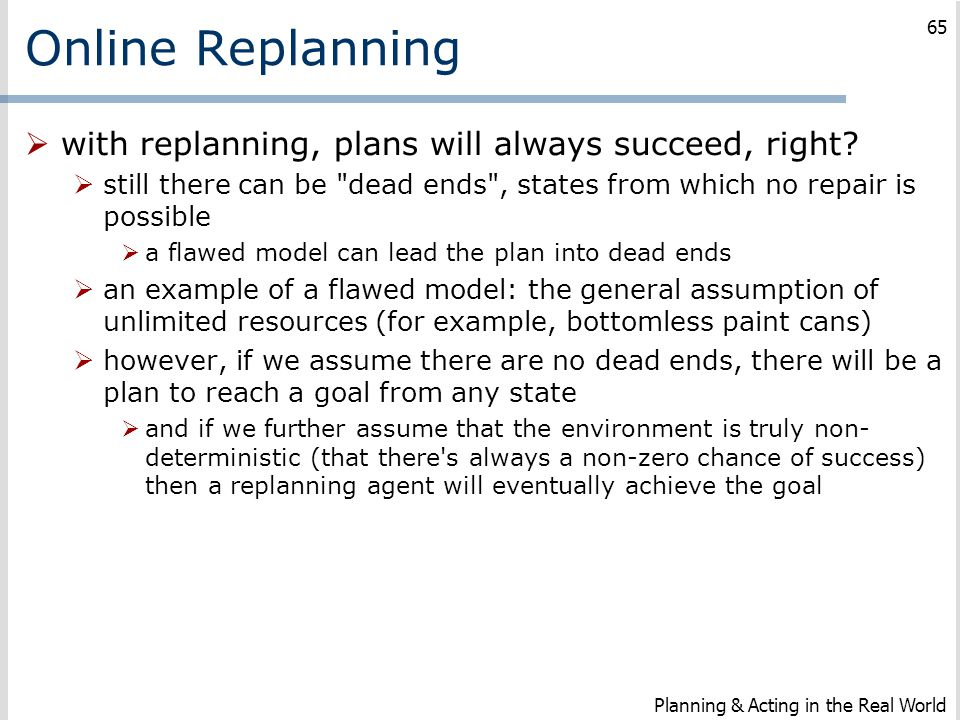 Online Replanning with replanning, plans will always succeed, right