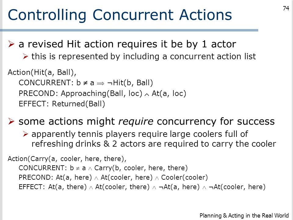 Controlling Concurrent Actions