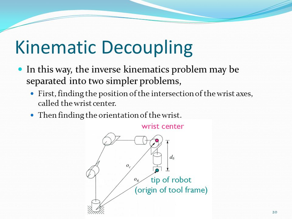 Kinematic Decoupling In this way, the inverse kinematics problem may be separated into two simpler problems,