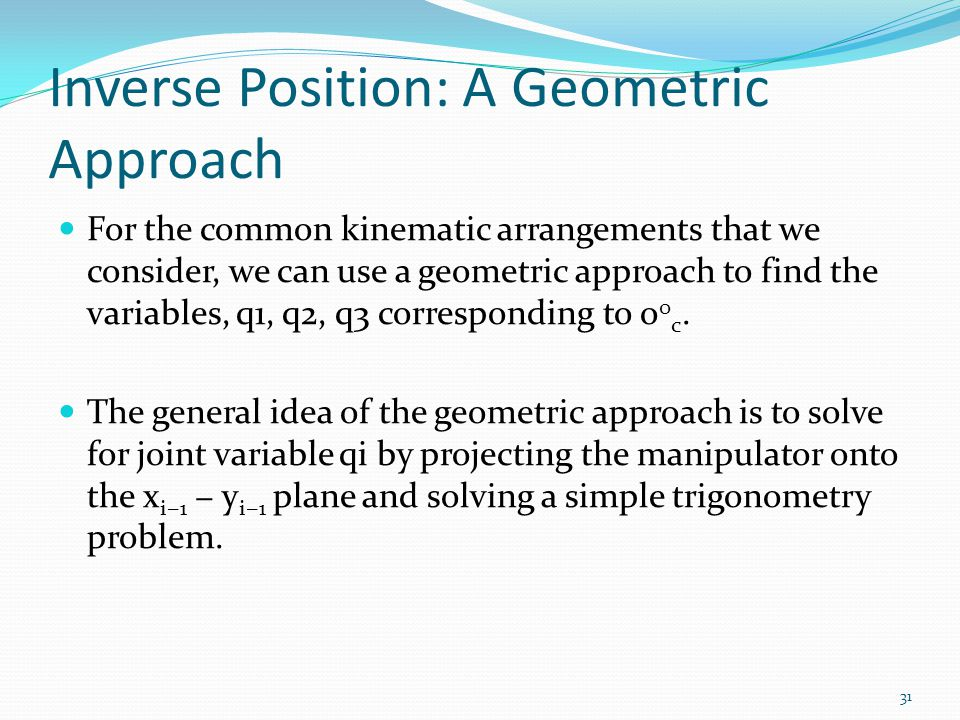 Inverse Position: A Geometric Approach
