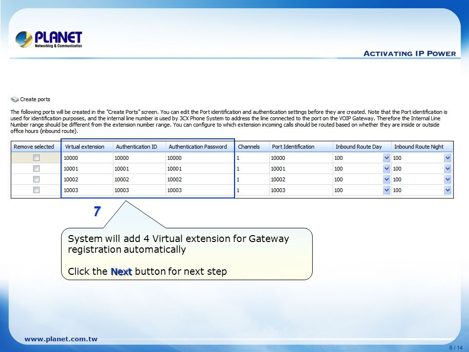 8 7. System will add 4 Virtual extension for Gateway registration automatically.