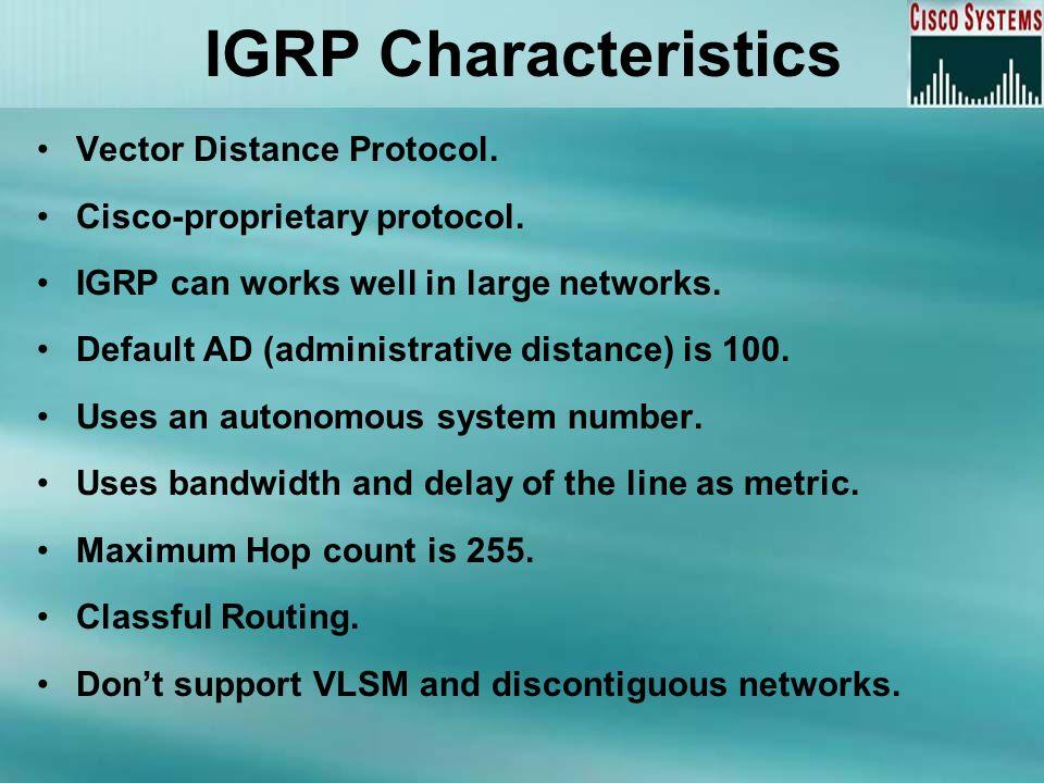 IGRP Characteristics Vector Distance Protocol.