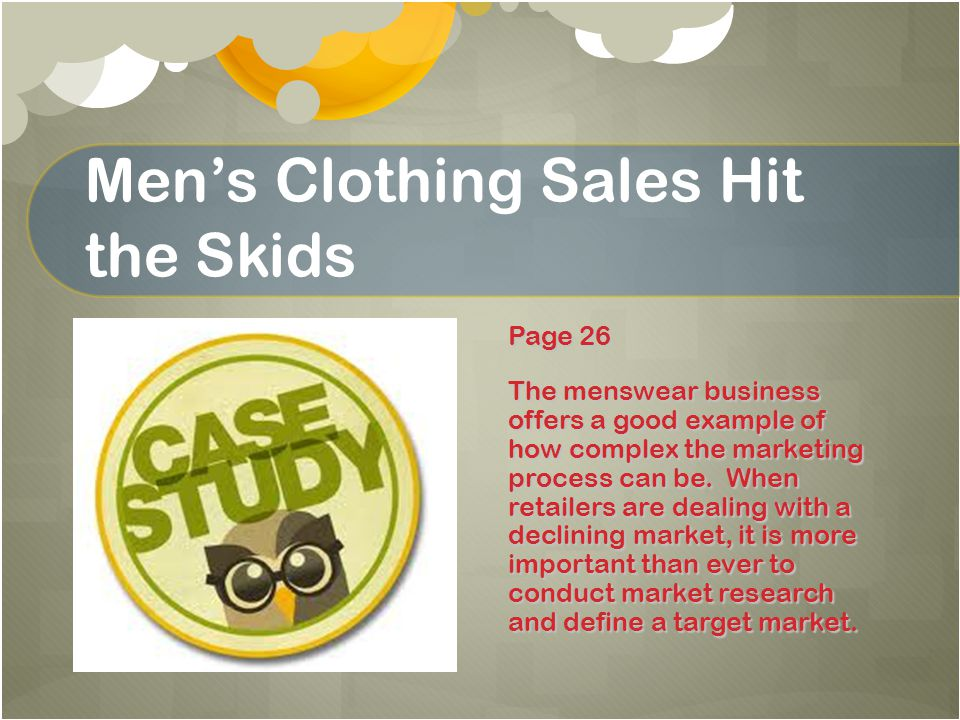 Men's Clothing Sales Hit the Skids