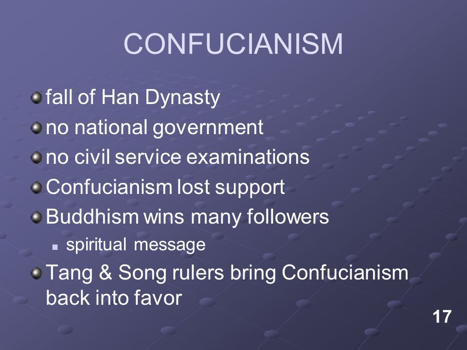 CONFUCIANISM fall of Han Dynasty no national government