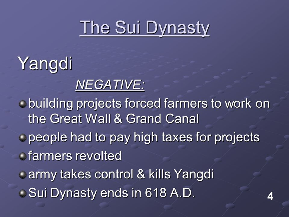 The Sui Dynasty Yangdi NEGATIVE: