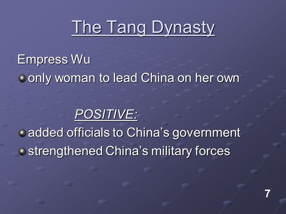 The Tang Dynasty Empress Wu only woman to lead China on her own