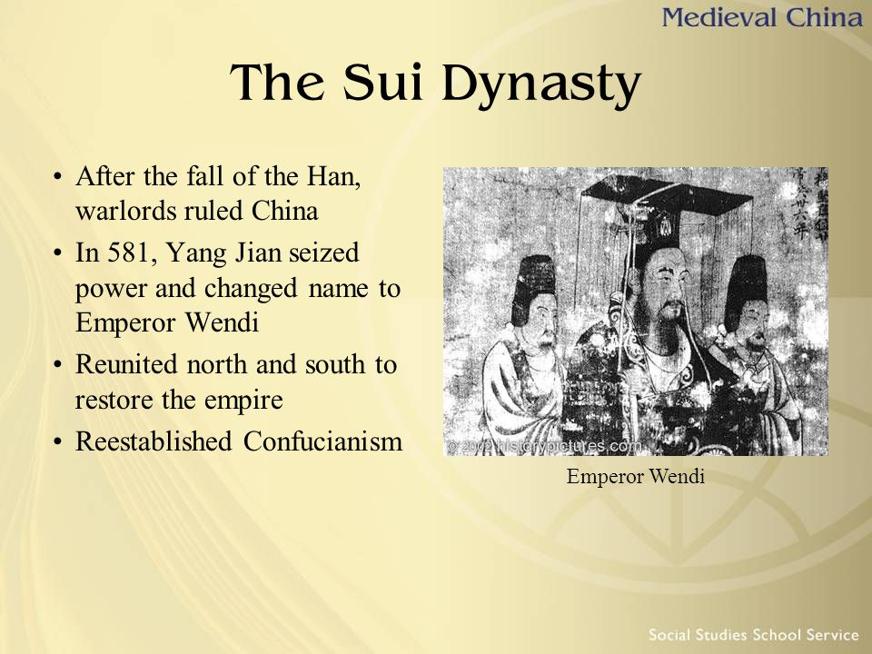 The Sui Dynasty After the fall of the Han, warlords ruled China