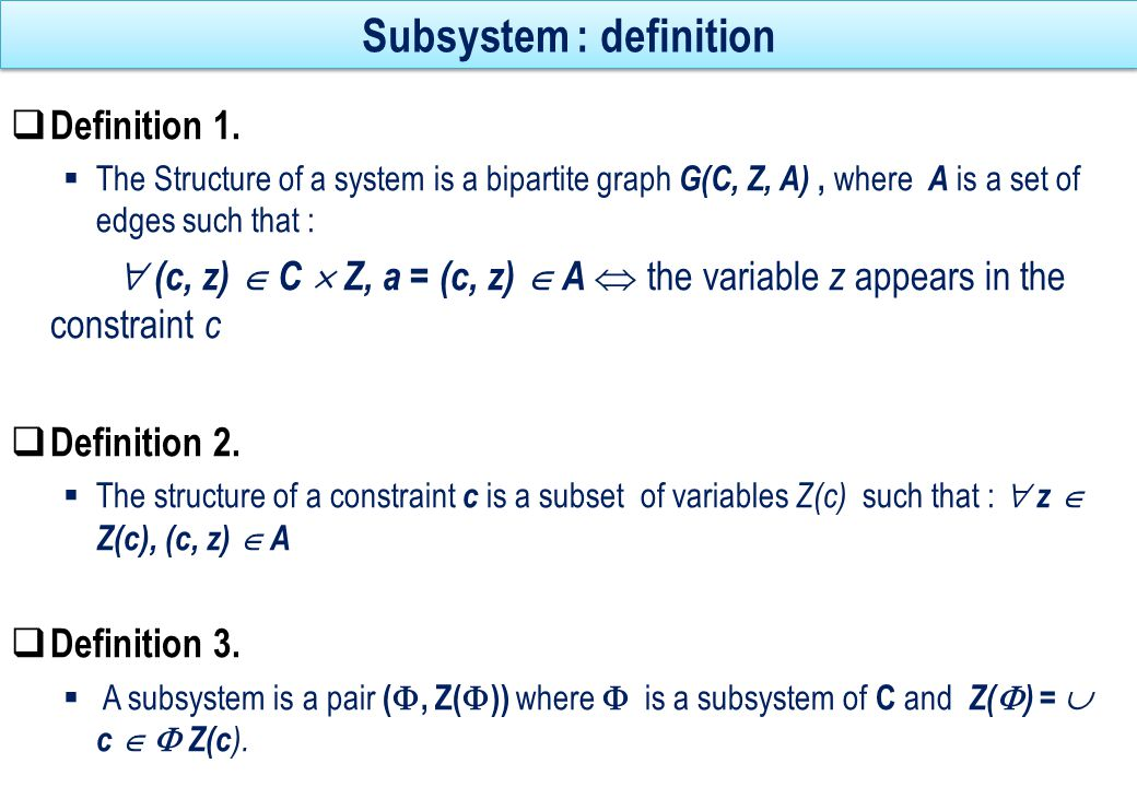 Subsystem : definition