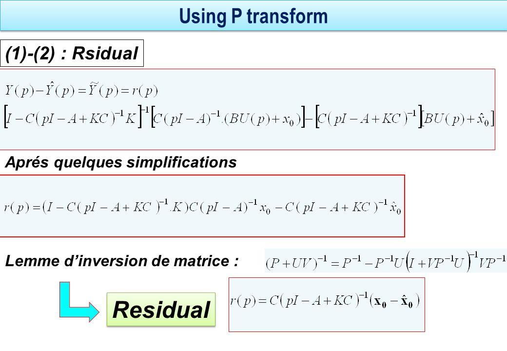 Residual Using P transform (1)-(2) : Rsidual