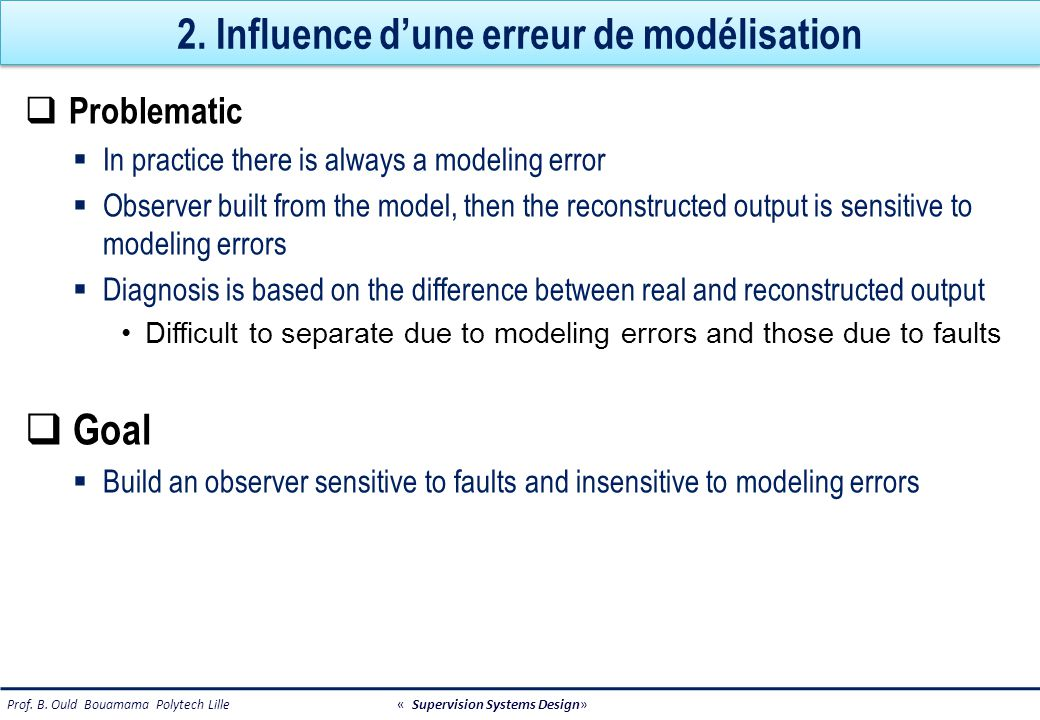 2. Influence d'une erreur de modélisation