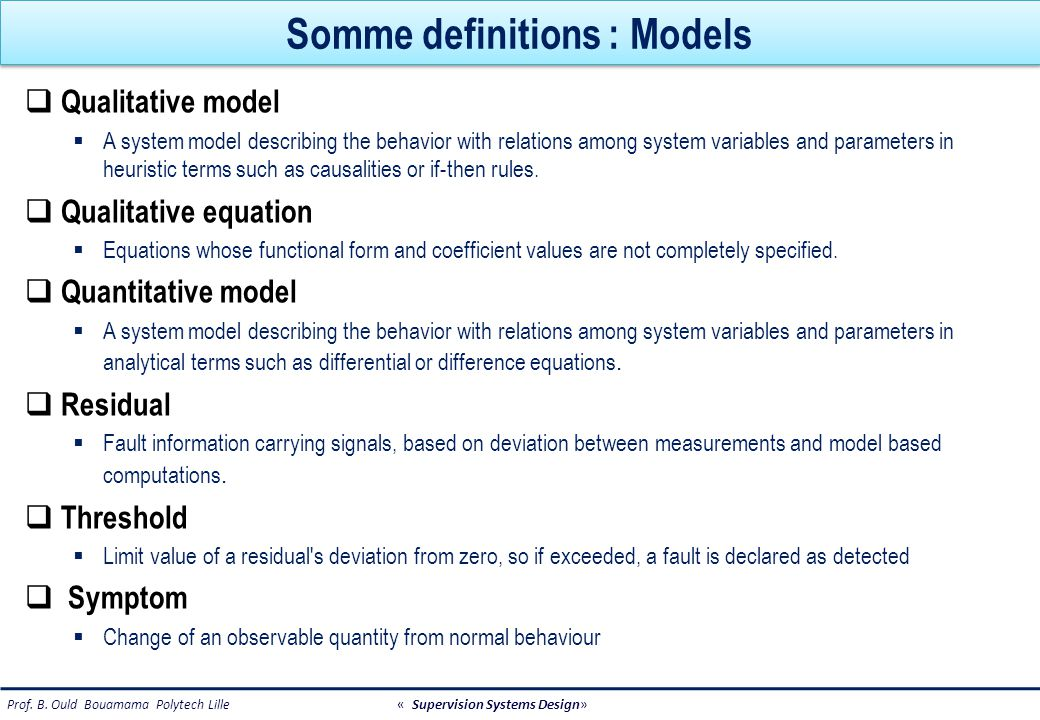 Somme definitions : Models