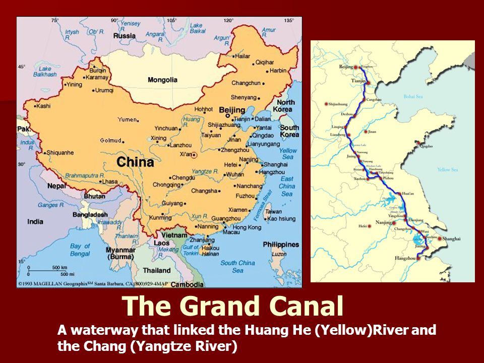 The Grand Canal A waterway that linked the Huang He (Yellow)River and