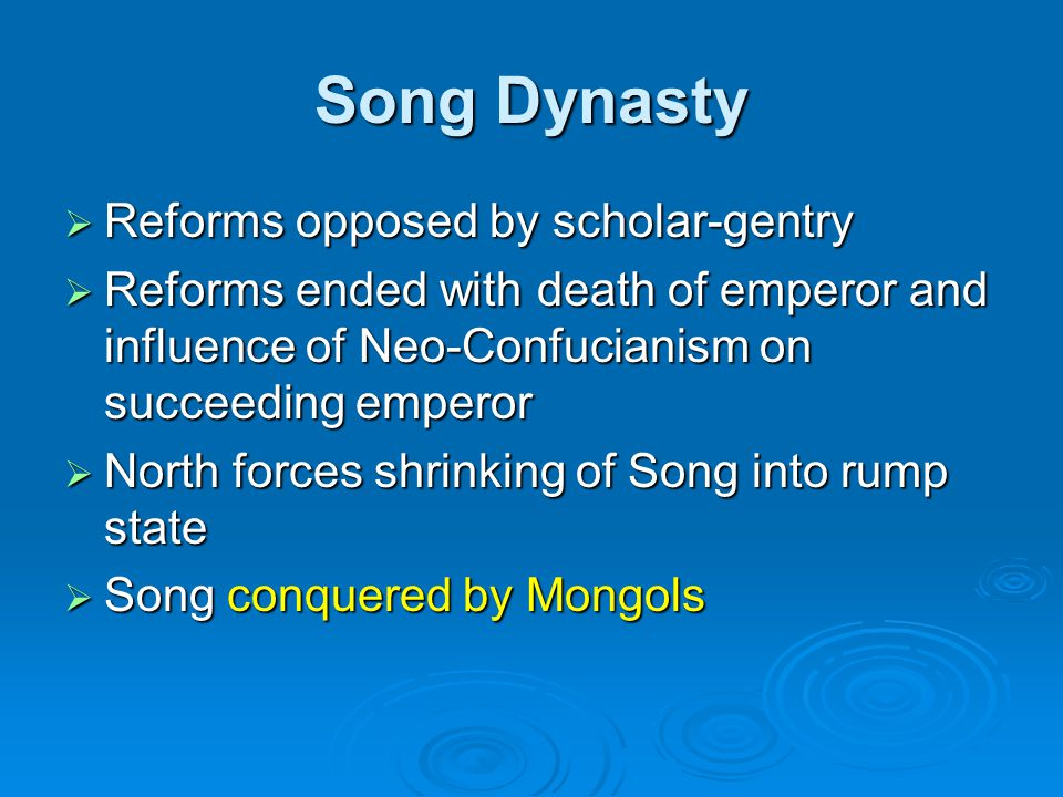 Song Dynasty Reforms opposed by scholar-gentry