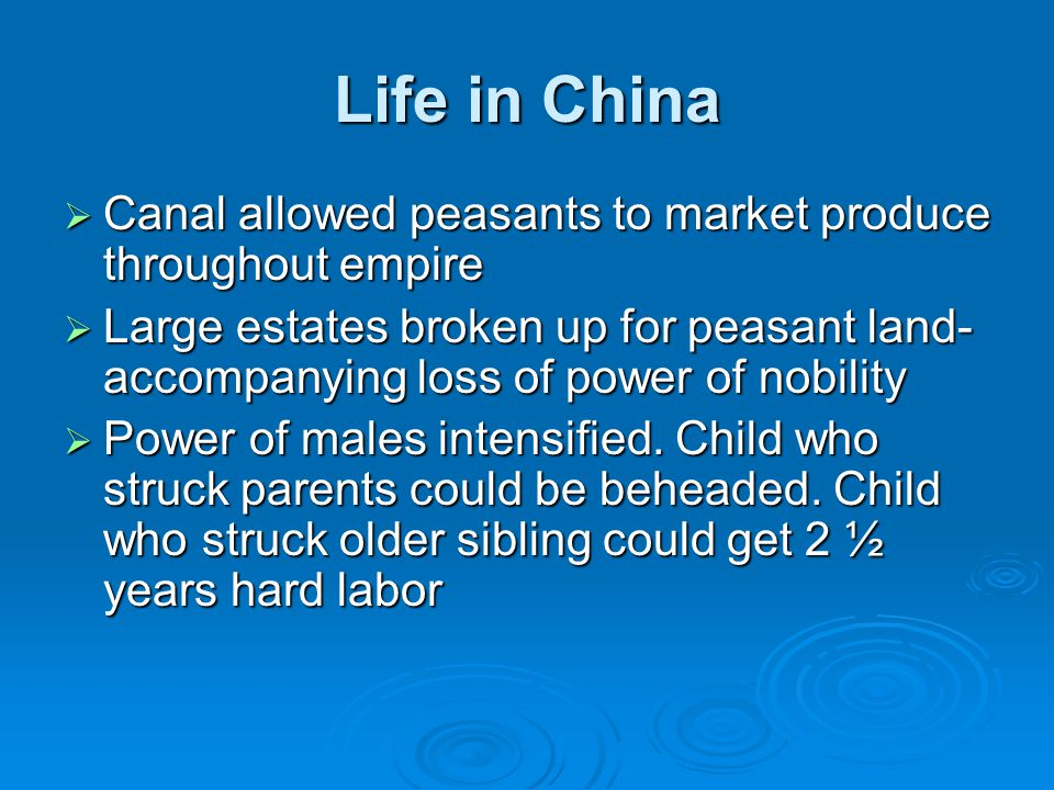 Life in China Canal allowed peasants to market produce throughout empire.