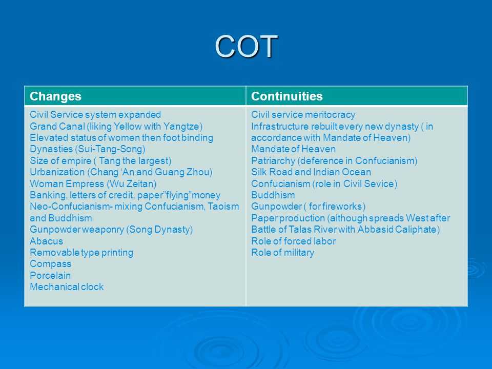 COT Changes Continuities Civil Service system expanded