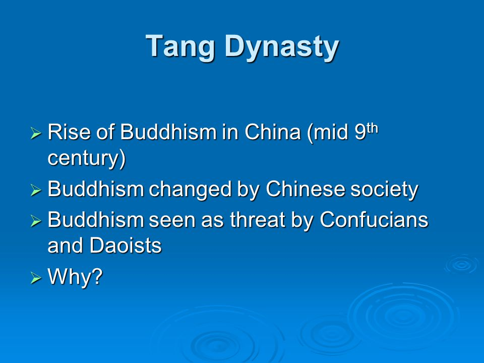 Tang Dynasty Rise of Buddhism in China (mid 9th century)