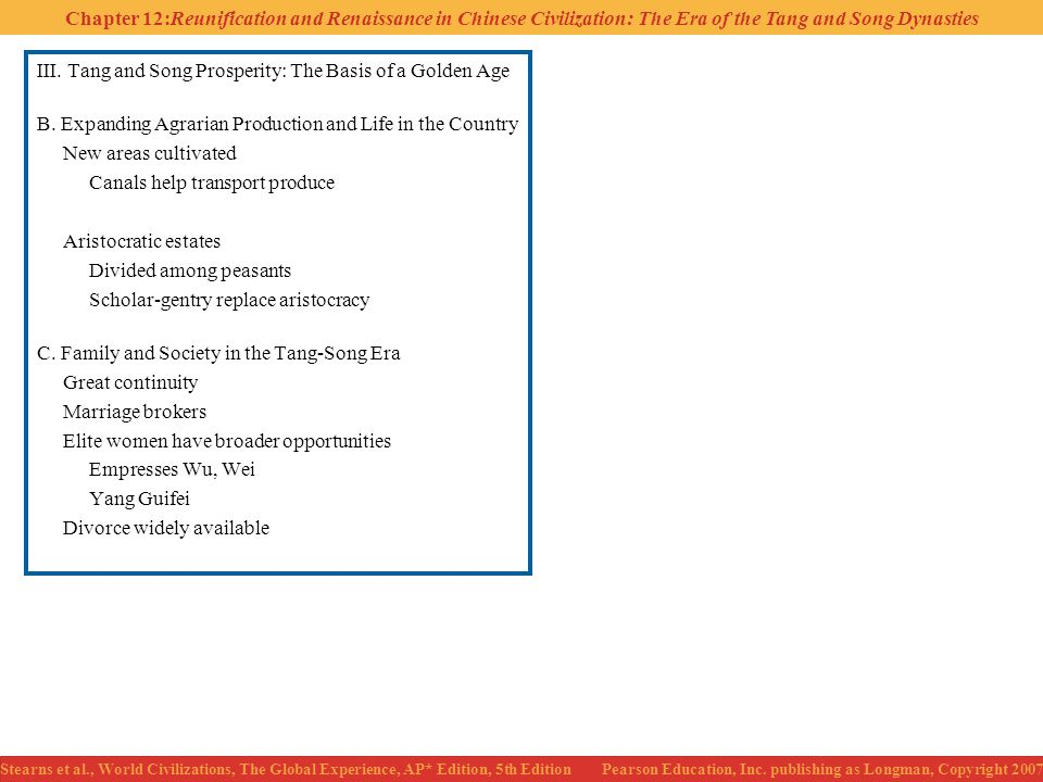 III. Tang and Song Prosperity: The Basis of a Golden Age