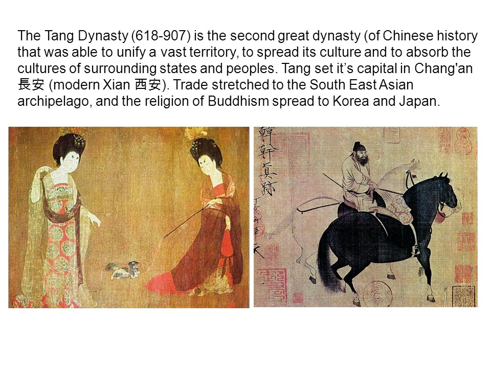 The Tang Dynasty (618-907) is the second great dynasty (of Chinese history that was able to unify a vast territory, to spread its culture and to absorb the cultures of surrounding states and peoples.