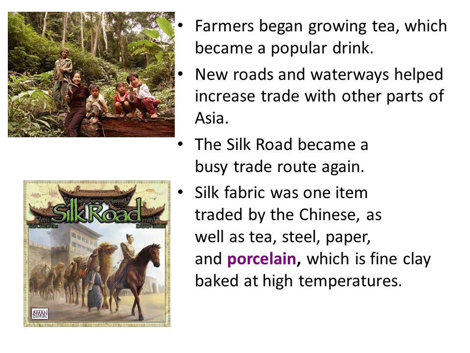 Farmers began growing tea, which became a popular drink.