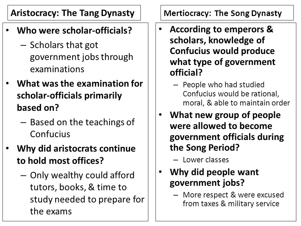 Aristocracy: The Tang Dynasty
