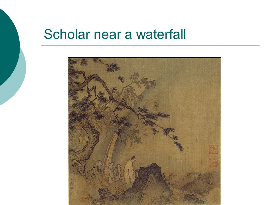 Scholar near a waterfall