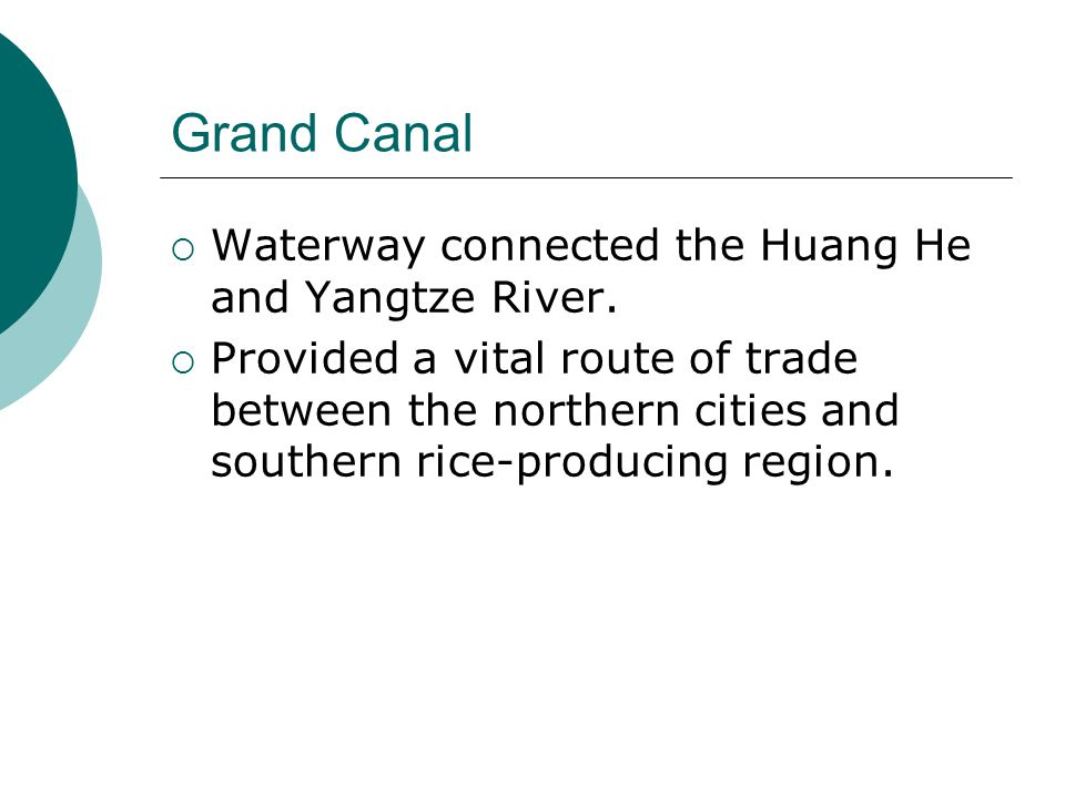 Grand Canal Waterway connected the Huang He and Yangtze River.