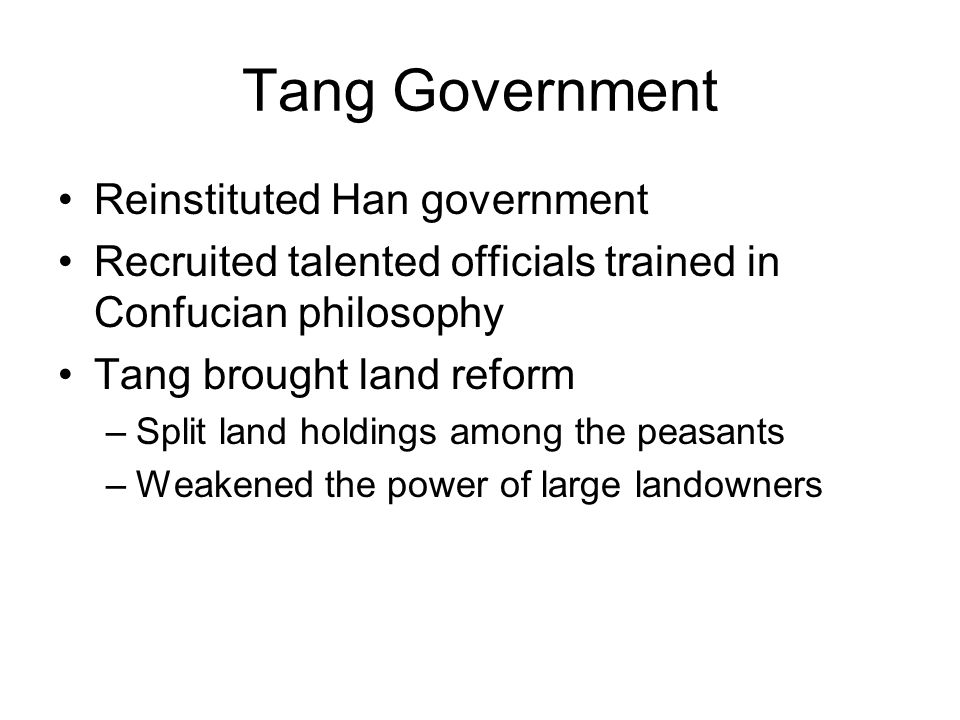 Tang Government Reinstituted Han government