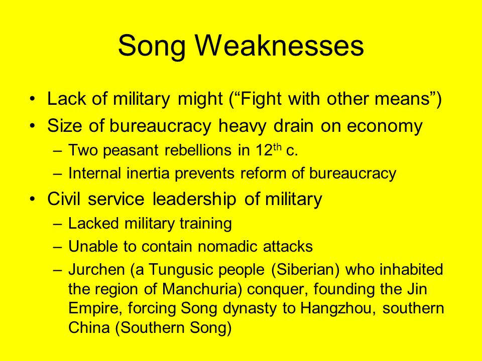 Song Weaknesses Lack of military might ( Fight with other means )