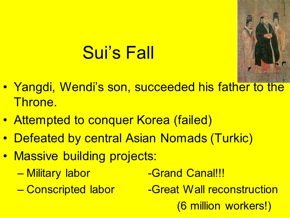 Sui's Fall Yangdi, Wendi's son, succeeded his father to the Throne.