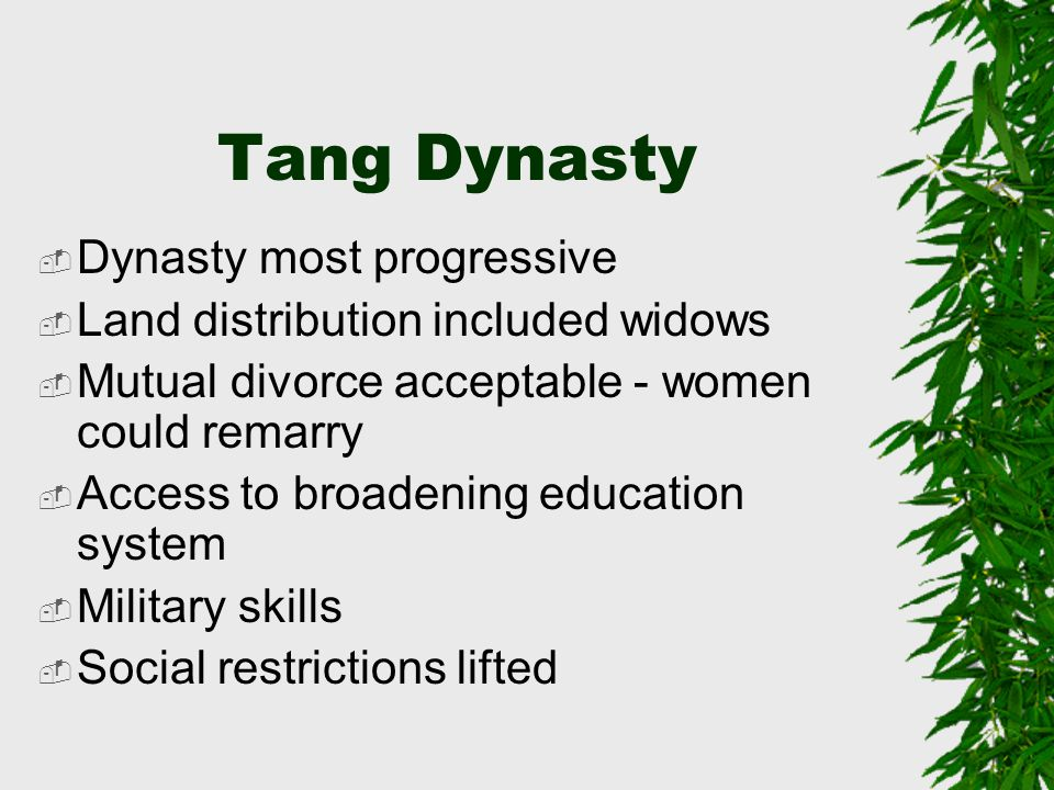 Tang Dynasty Dynasty most progressive