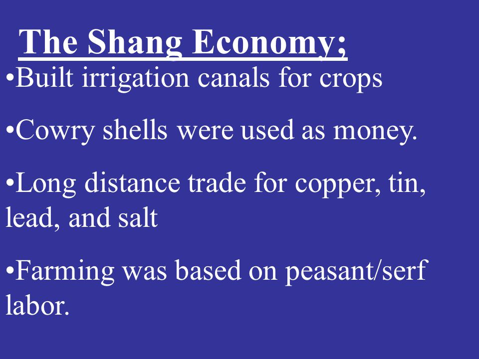 The Shang Economy; Built irrigation canals for crops