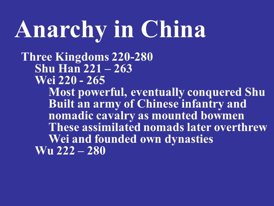 Anarchy in China Three Kingdoms 220-280 Shu Han 221 – 263