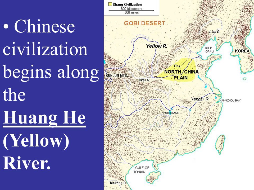 Chinese civilization begins along the