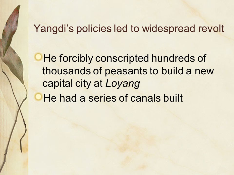 Yangdi's policies led to widespread revolt