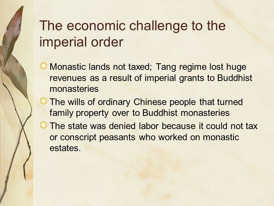 The economic challenge to the imperial order