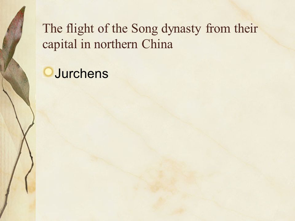 The flight of the Song dynasty from their capital in northern China