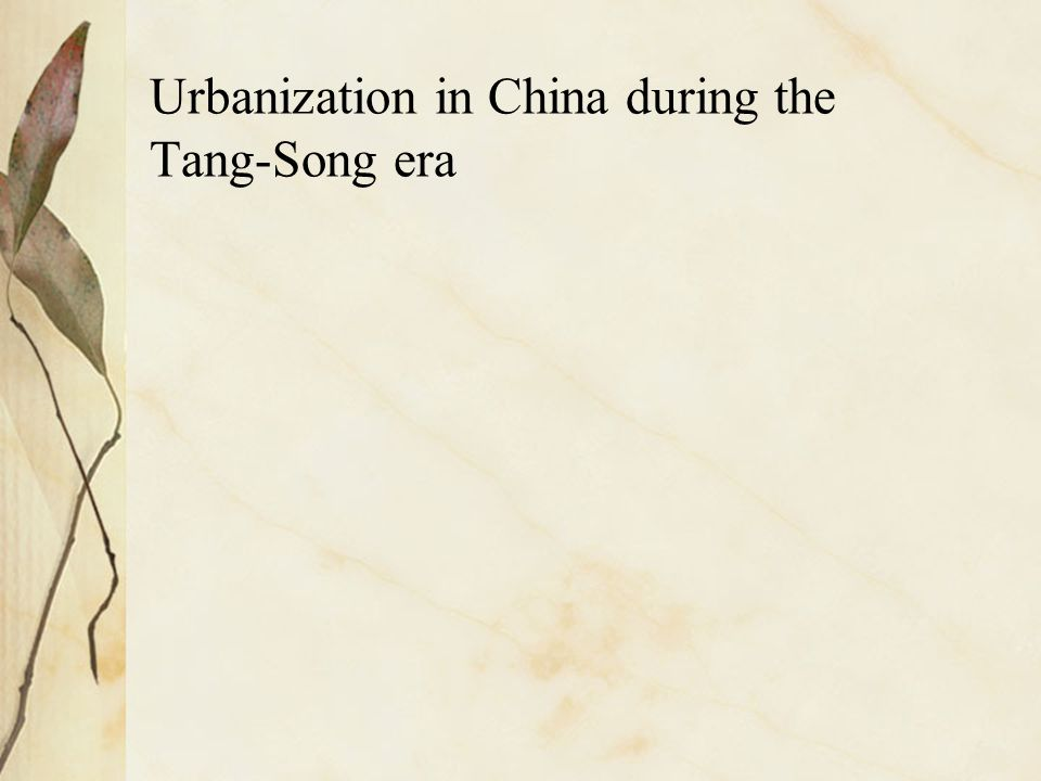 Urbanization in China during the Tang-Song era