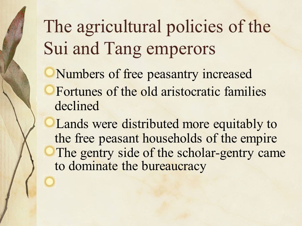 The agricultural policies of the Sui and Tang emperors