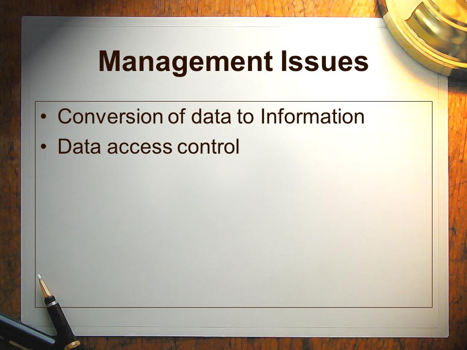 Management Issues Conversion of data to Information